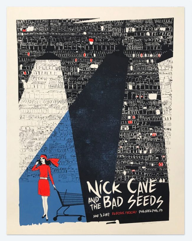 Nick Cave and the Bad Seeds Poster - 19 x 25 - June 5, 2017 Electric Factory - NFS