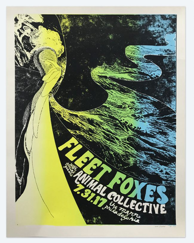Fleet Foxes with Animal Collective Silkscreen Poster - 19 x 25 - July 31, 2017 the Mann - NFS