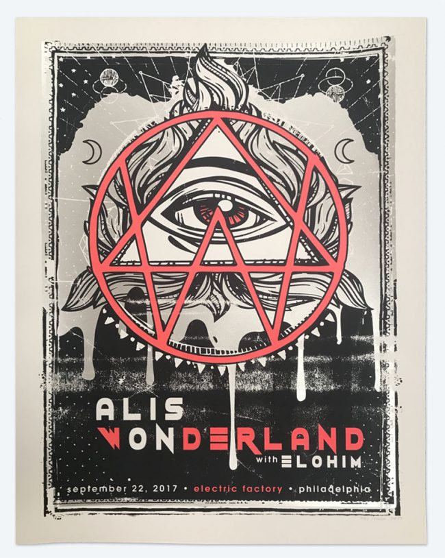 Alison Wonderland Silkscreen Poster - 19 x 25 - September 22, 2017 Electric Factory - NFS