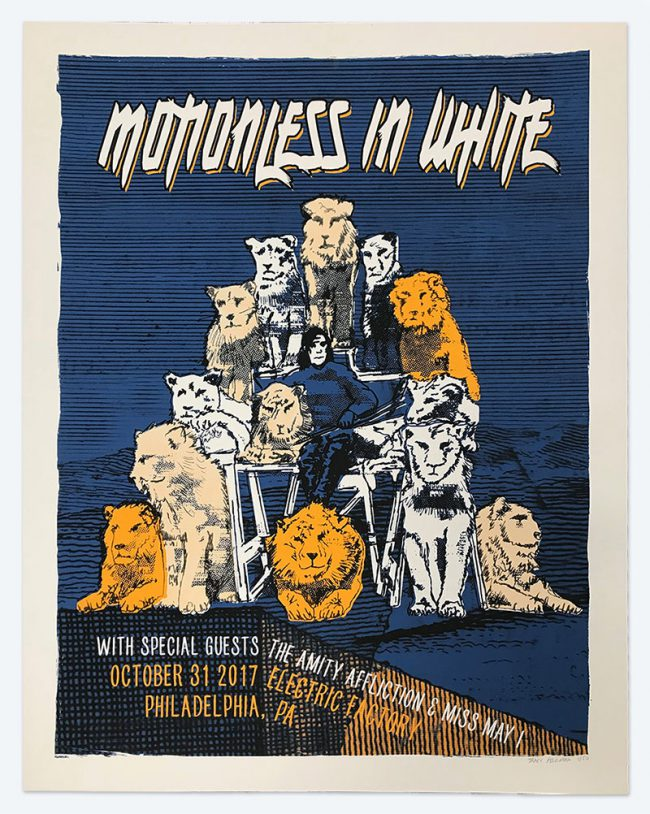 Motionless in White Silkscreen Poster - 19 x 25 - Electric Factory - NFS