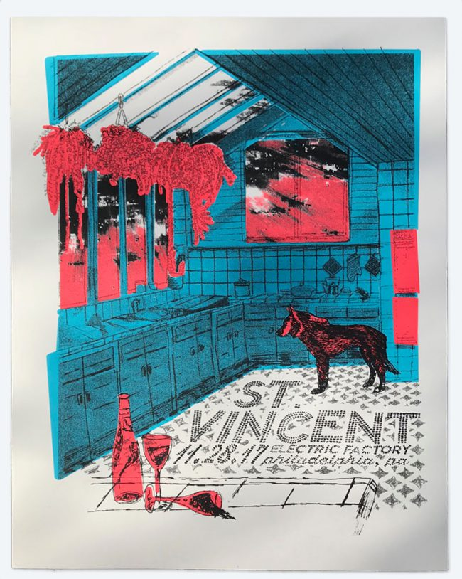 St. Vincent Silkscreen Poster - 19 x 25 - Nov 28, 2017 Electric Factory - NFS
