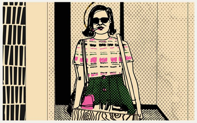Drawing of Peggy Olson for Pussy Division's Feminist Trading Card Project