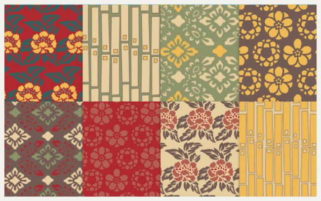 Retro Asian Patterns - Seamless hi res downloads as part of Atomic Pop online store